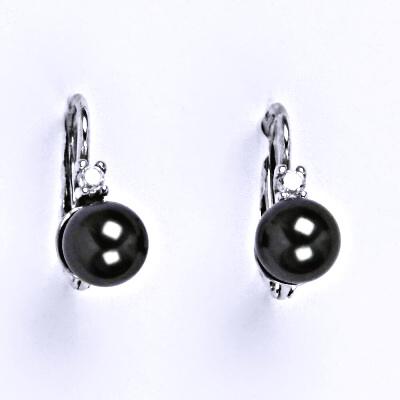 Stříbrné náušnice se Swarovski black perlou 6 mm, NK 1243