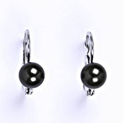 Stříbrné náušnice se Swarovski black perlou 6 mm, NK 1183