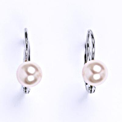 Stříbrné náušnice se Swarovski rosaline perlou 6 mm, NK 1183