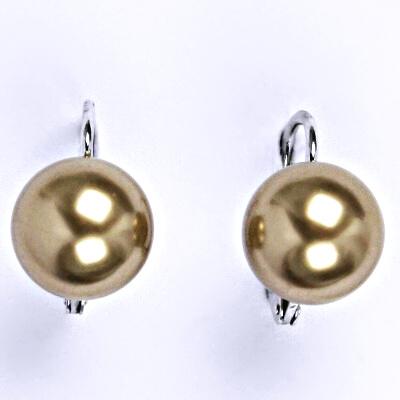 Stříbrné náušnice se Swarovski perlou bronze 10 mm, NK 1183
