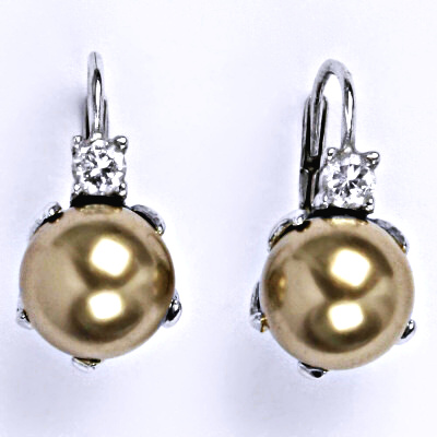 Stříbrné náušnice se swarovski perlou bronze 10 mm, NK 1190