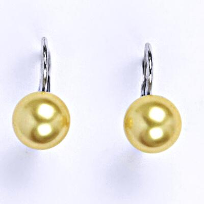 Stříbrné náušnice se Swarovski perlou gold 8 mm, NK 1183