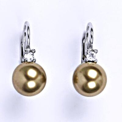 Stříbrné náušnice se Swarovski perlou bronze 8 mm, NK 1207