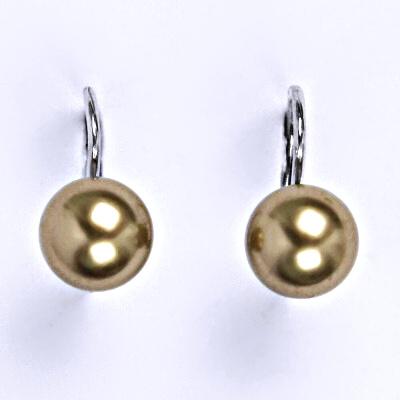Stříbrné náušnice se Swarovski perlou bronze 8 mm, NK 1183