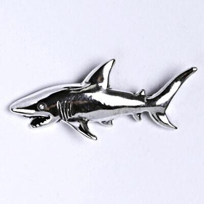 Stříbrný přívěšek žralok s patinou, ryba přívěsek ze stříbra P 131
