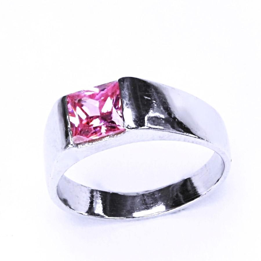 Stříbrný prsten s růžovým zirkonem VR 73