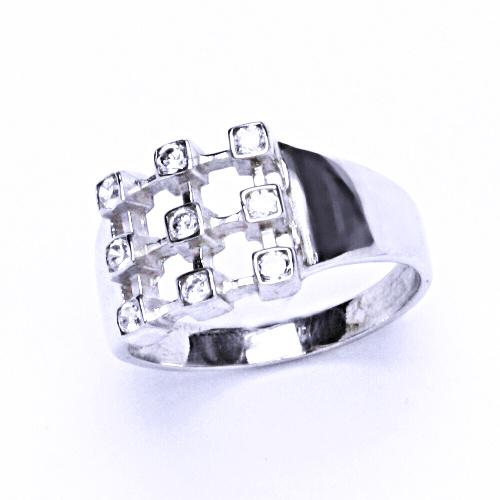 Prsten se zirkony stříbrný, 0 T 1312