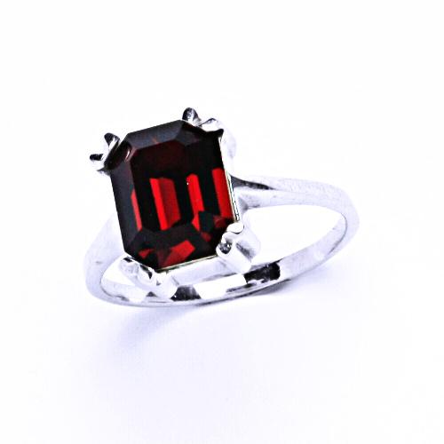 Stříbrný prsten, šperky s krystalem Swarovski (siam)T 1201
