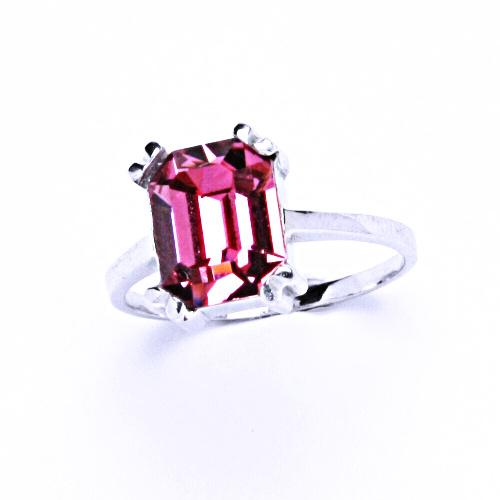 Stříbrný prsten, šperky s krystalem Swarovski rose, T 1201