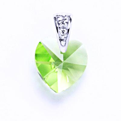 Přívěsek stříbrný, srdce s krystalem Swarovski ( peridot)