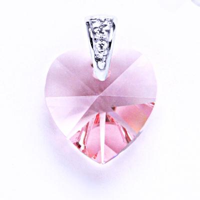 Přívěsek stříbrný srdce s krystalem Swarovski ( light rose) P 1306