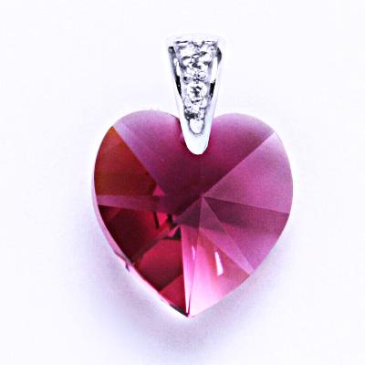 Přívěsek stříbrný srdce s krystalem Swarovski ( fuchsia) P 1306