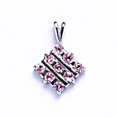 Stříbrné přívěsky s růžovými zirkony, VP 45