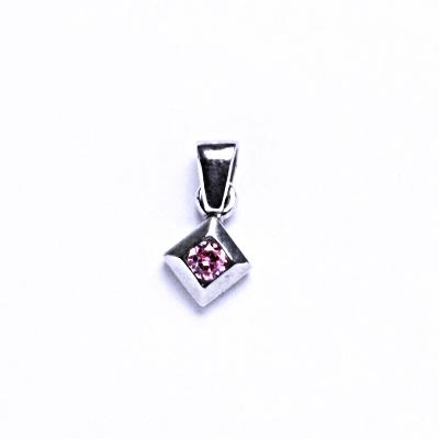 Stříbrné přívěsky se zirkony VP 56 pink