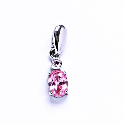 Stříbrné přívěsky se zirkony, prsten ze stříbra VP109 pink