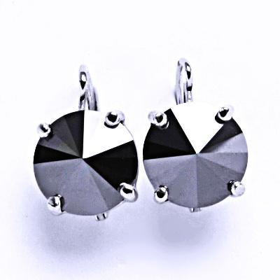 Stříbrné naušnice na patent s krystaly Swarovski Rivoli ( barva Hematite)NK 1188