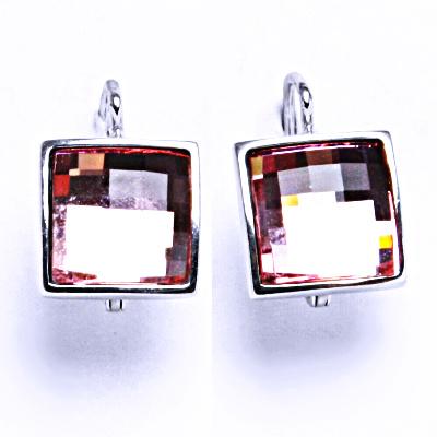 1 Stříbrné naušnice na patent s krystaly Swarovski ( Light Rose)NK 1305