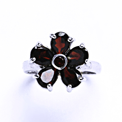 Stříbrný prsten s granátem, prsten ze stříbra VR 236