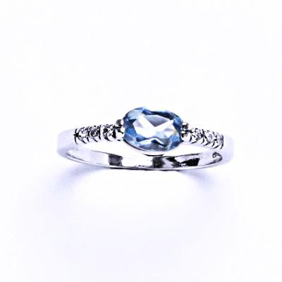 Prsten stříbrný se syntetickým akvamarínem VR 237