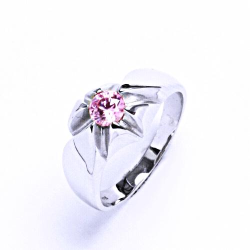 0 Prsten stříbrný s růžovým zirkonem T 1329