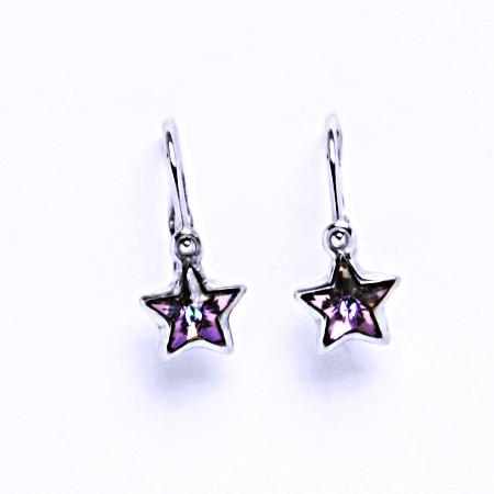 Dětské náušnice s krystalem Swarovski hvězda vitrail light, NK 1326