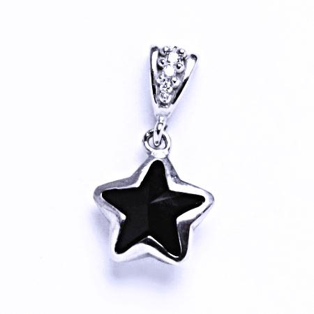 Stříbrný přívěsek krystalem Swarovski hvězda (jet 10 mm)P 1325