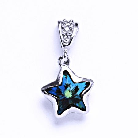 Stříbrný přívěsek krystalem Swarovski hvězda (bermuda blue 10 mm)P 1325