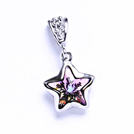 P 1325 Stříbrný přívěsek krystalem Swarovski hvězda (vitrail light 10 mm)