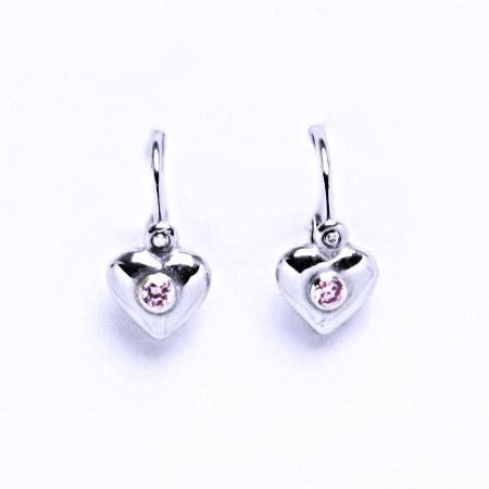 Dětské naušnice se zirkony stříbrné, srdce, NK 1327