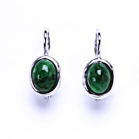 Smaragd přírodní tmavý smaragd náušnice stříbrné 7x5 mm, NK 1354