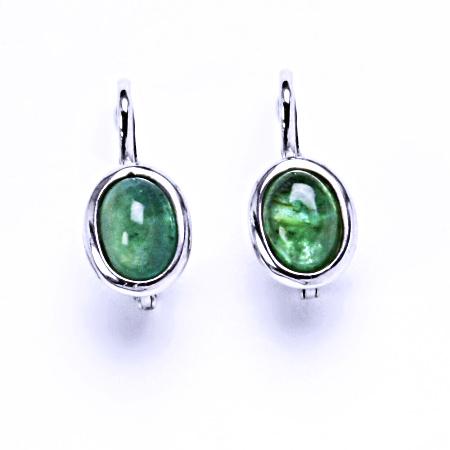Smaragd přírodní světlý náušnice stříbrné, šperk, NK 1354 7x5