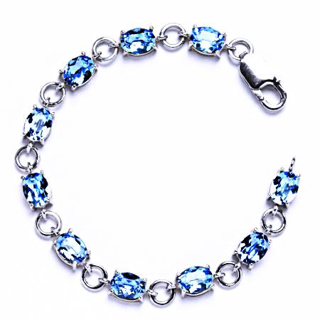 Stříbrný náramek s krystaly Swarovski akvamarín, šperky, R 1245