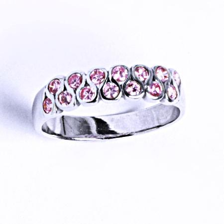 Stříbrný prsten se syntetickým zirkonem (růžový zirkon) VR 83