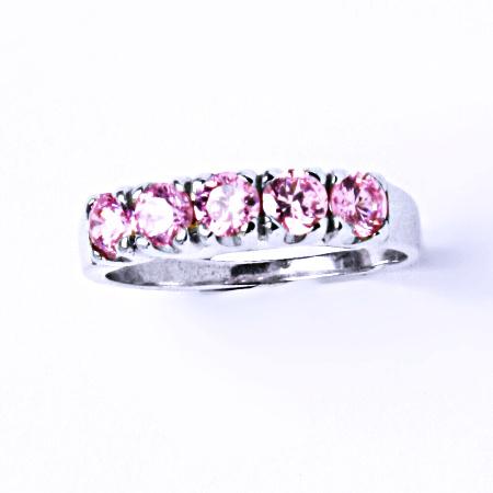 Stříbrný prsten se syntetickým zirkonem (růžový zirkon) VR 105