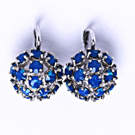 Náušnice stříbrné půlkoule s krystalem Swarovski Carribean Blue Opal,NK 1337