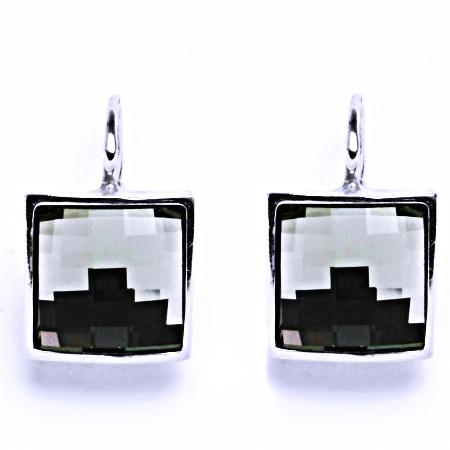 Stříbrné náušnice na patent s krystalem Swarovski Black Diamond,NK 1305
