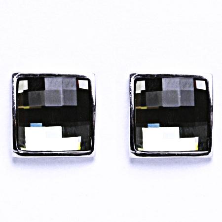 Stříbrné náušnice na šroubek s krystalem Swarovski Black Diamond,NŠ 1305