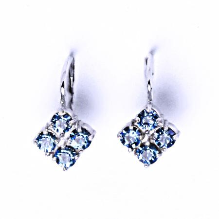 Náušnice stříbrné s krystaly Swarovski Akvamarin, šperky, NK 1324