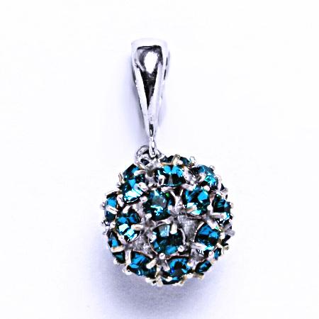 Stříbrný přívěšek koule se Swarovski krystalem přívěsek blue zirkon P 1344