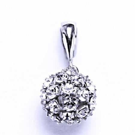 Stříbrný přívěšek koule se Swarovski krystalem přívěsek krystal čirý P 1344/6