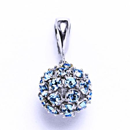 Stříbrný přívěšek koule se Swarovski krystalem přívěsek akvamarín P 1344/6