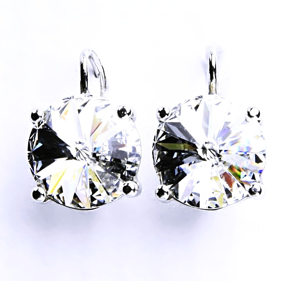 Stříbrné šperky, naušnice, Swarovski Rivoli (barva čirá)NK 1188