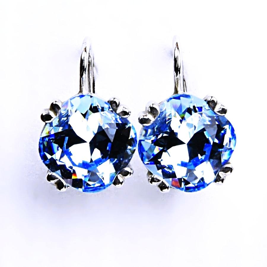 Stříbrné náušnice, krystal Swarovski, akvamarin, šperky s krystaly, NK 1225