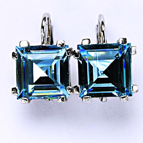 Stříbrné náušnice, krystal Swarovski, akvamarin, šperky s krystaly, NK 1196