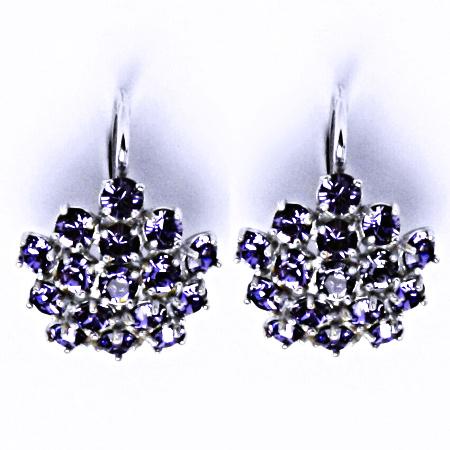 Náušnice stříbrné s krystaly Swarovski květy Tanzanit, šperky, NK 1342