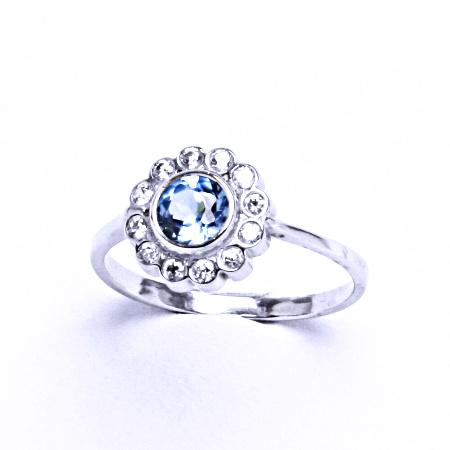 Stříbrný prsten se syntetickým akvamarínem VR 179