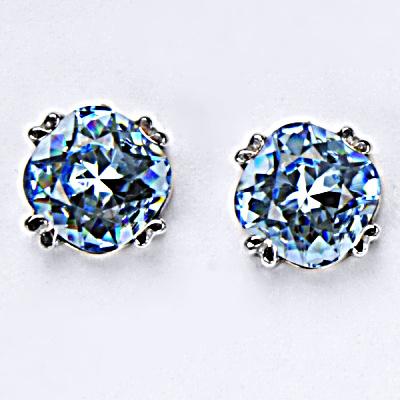 Stříbrné náušnice, krystal Swarovski, akvamarin, šperky s krystaly, NŠ 1225