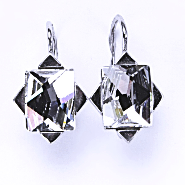 Náušnice stříbrné, krystal Swarovski, čirá, šperky s krystaly, NK 1276