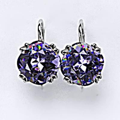 Stříbrné náušnice, krystal Swarovski, tanzanit, šperky s krystaly, NK 1225