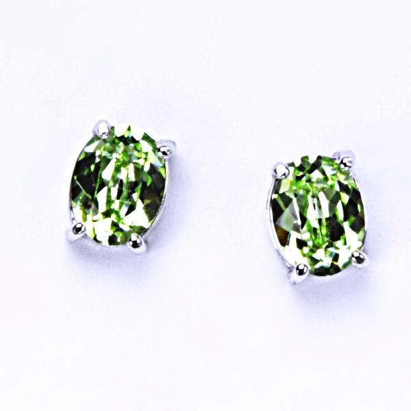 Stříbrné náušnice, krystal Swarovski, chryzolit, šperky s krystaly, NŠ 1245